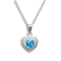 NM LON004 Anhänger Herz mit Opal + Kette