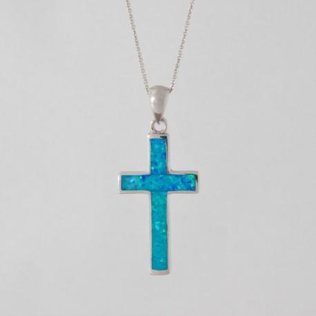 NM LOP016 Anhänger Kreuz mit Opal