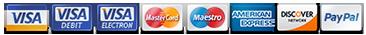 VISA MasterCard Maestro AmEx Discover PayPal